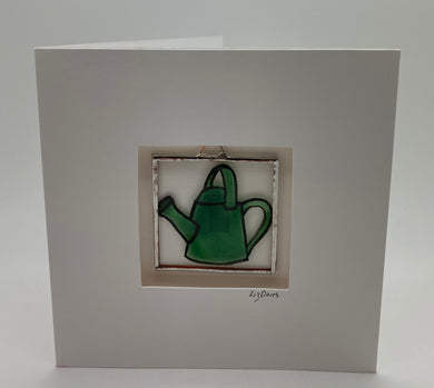 Watering can stained glass greetings card.                   LD