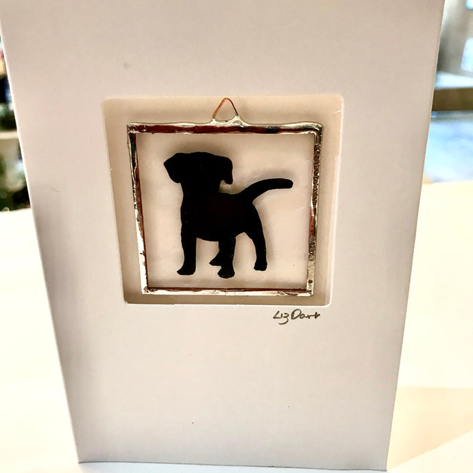 Puppy stained glass greetings card