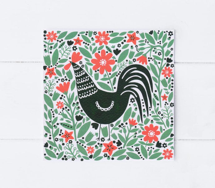 Cockerel in a field greetings card
