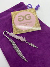 Load image into Gallery viewer, Rose Quartz and Tibetan silver feather bookmark by JENNY 10