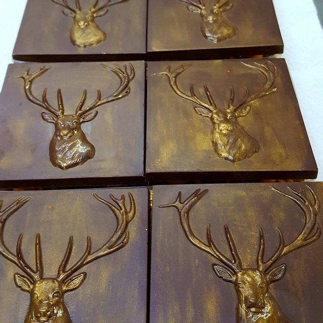 Raspberry and rose dark chocolate stag (FANDT)