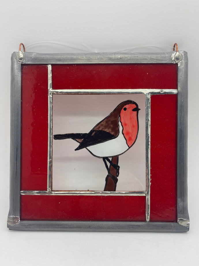 Robin stained glass panel.                                            LD