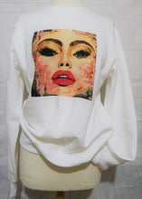 "Load image into Gallery viewer, ""#Selfie""  White organic cotton unisex sweater (Maeve)"