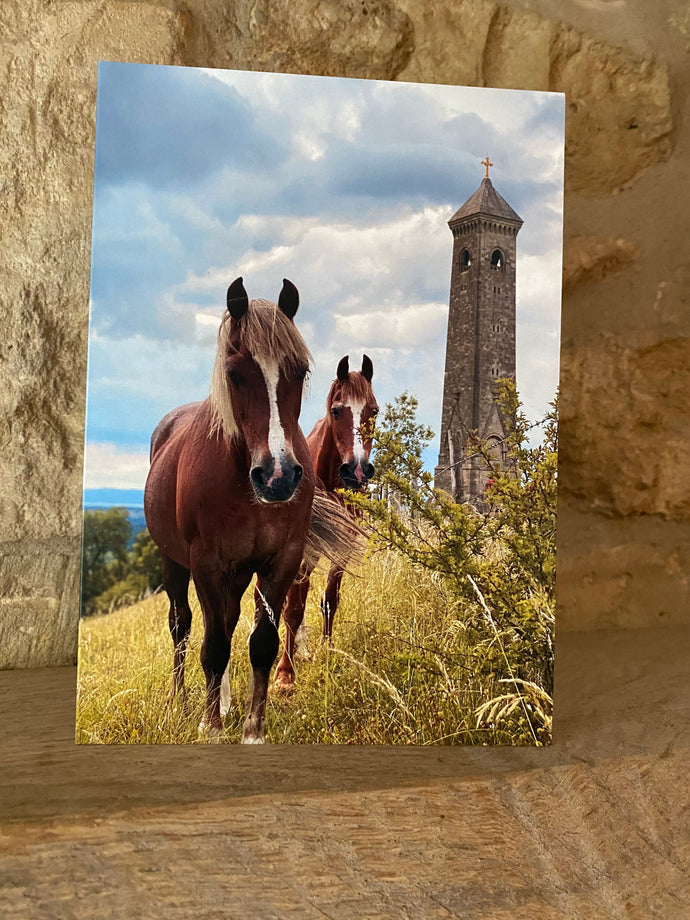 Horses and tower greetings card (cot cards)