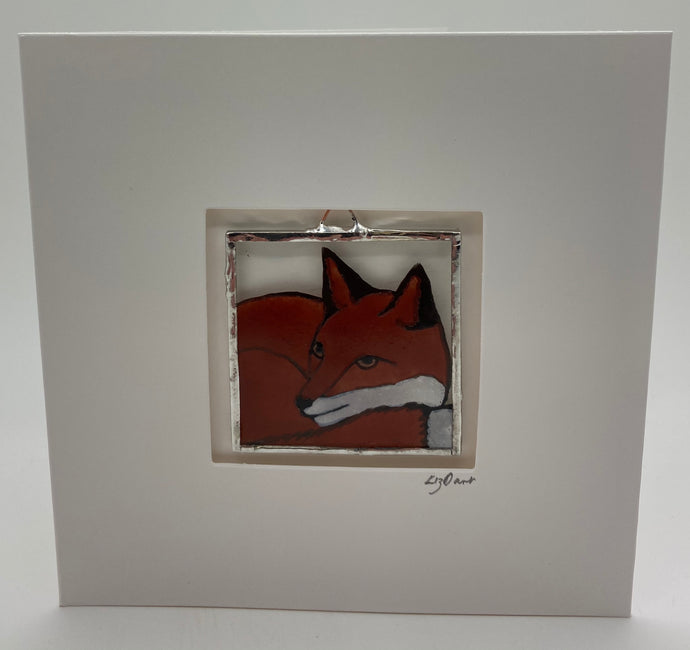 Fox stained glass greetings card.                                       LD