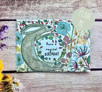 "Plantable flowers seed "" Have a magical birthday"" Hare birthday card (Erika)"
