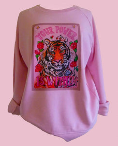 """Tiger"" organic cotton candy sweater (Maeve)"