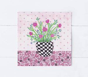 Checkered vase greetings card (Summer)