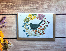 Load image into Gallery viewer, Plantable black bird greetings card blank inside (Erika)