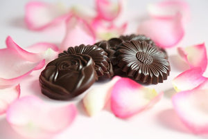 English flowers cast in dark Ecuadorian chocolate (FANDT)