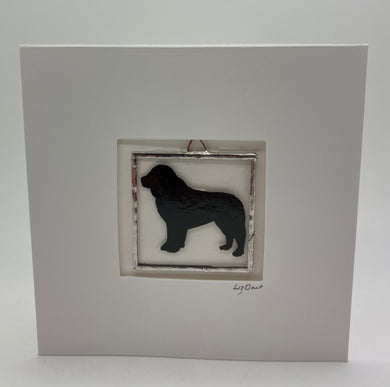 Dog stained glass greetings card.                                      LD