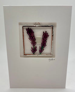 Lavender stained glass greetings card. (LD)