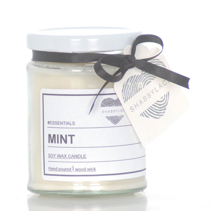 Mint soy wax scented candle (Shabby)