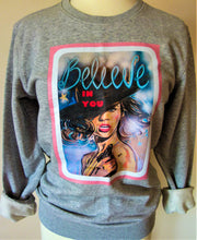"Load image into Gallery viewer, ""Believe"" grey organic cotton sweater"