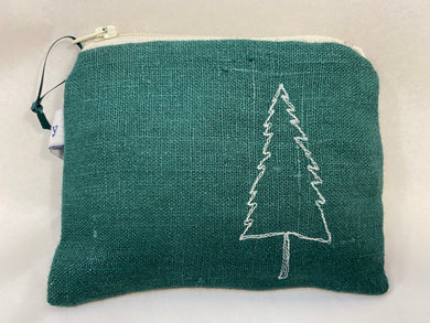 Embroidered tree coin purse