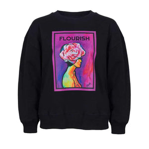 """Flourish"" organic cotton sweater black (Maeve)"