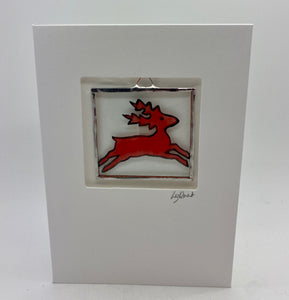 Reindeer stained glass greetings card (LD)