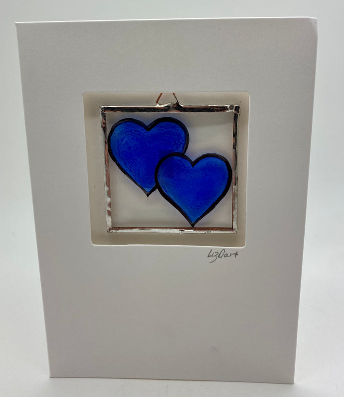 Double Blue heart stained glass greetings card.(LD)