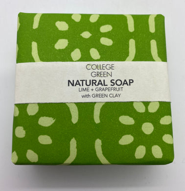 Lime and grapefruit with green clay soap (College green)