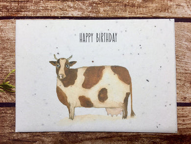 Plantable paper,Birthday Card, Blank Inside, Recycled Flower Garden, Cow (Erika)