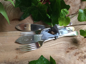 Mr and Mrs vintage, hand stamped, silver plated knives and forks set