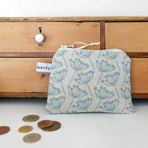 Coin purse- natural Cornish blue- cow parsley (CMT79)