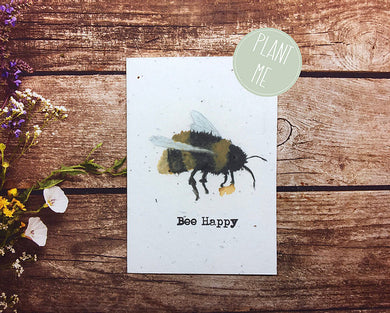 Plantable bee happy greetings card (Erika)