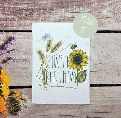 Plantable Happy birthday sunflower greetings card (Erika)