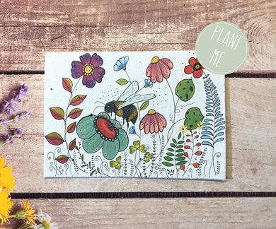 Plantable bee and flowers greetings card (Erika)