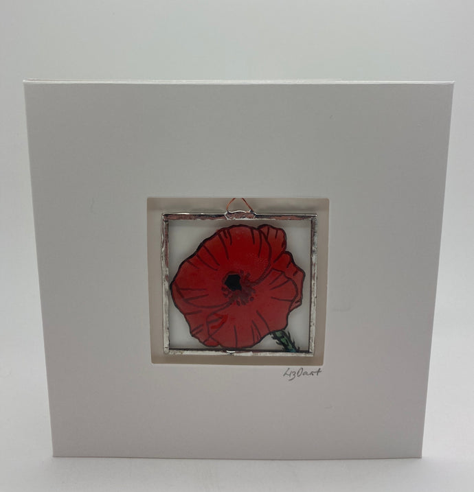 Poppy stained glass greetings card (LD)