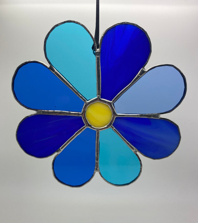 Blue flower stained glass hanging (Glass)
