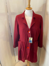 Load image into Gallery viewer, Upcycled lambswool deep red cardigan with coconut shell buttons
