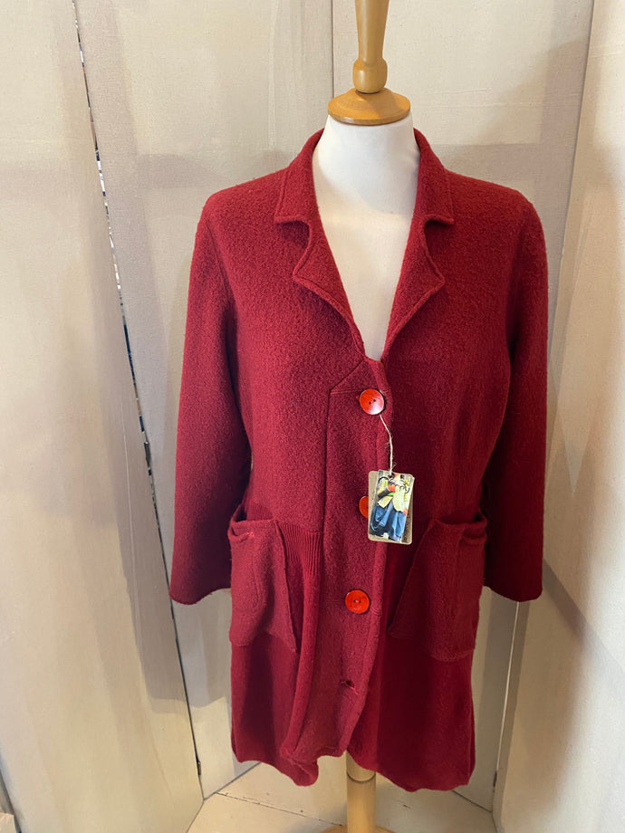 Upcycled lambswool deep red cardigan with coconut shell buttons