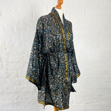 Black with Floral Print Robe (Emily EM20/00169)