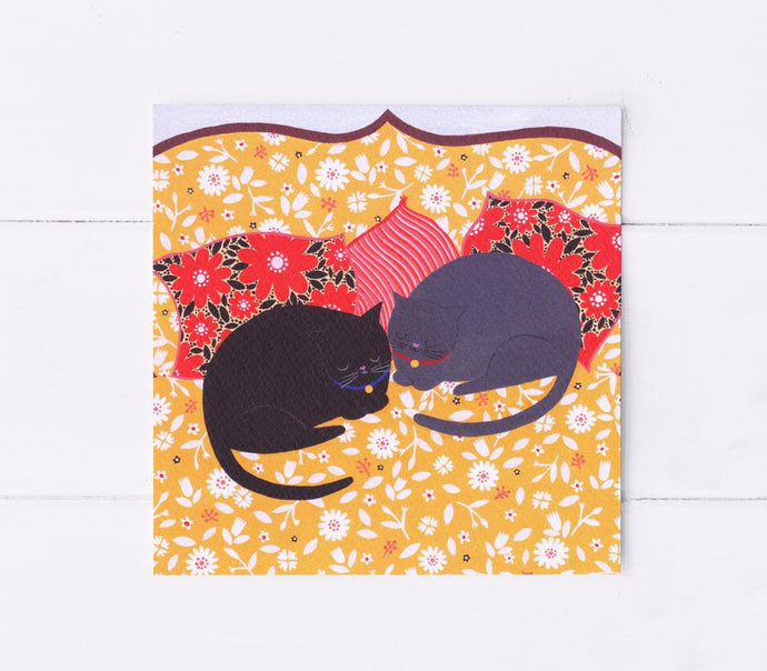 Cats sleeping greetings card