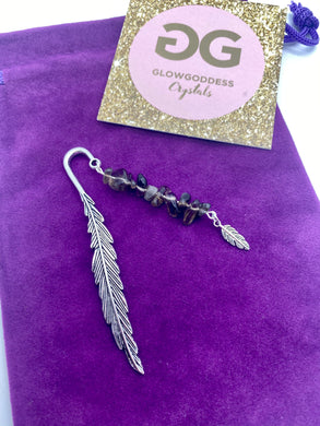 Smokey quartz and Tibetan silver feather bookmark by JENNY 02