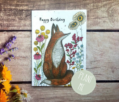 "Plantable flower seed ""Happy birthday"" fox birthday card (Erika)"