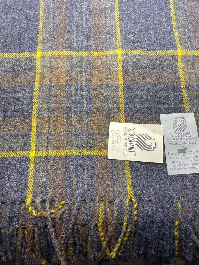 Worsted check plaid throw (CWW)