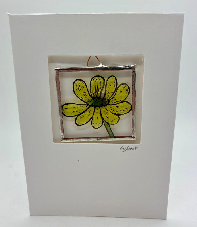Buttercup stained glass greetings card. (LD)