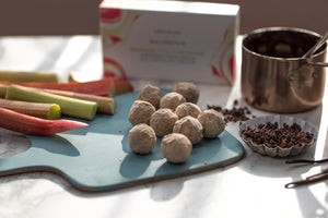 Rhubarb milk chocolate truffles