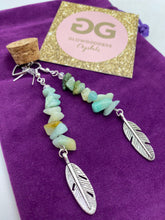 Load image into Gallery viewer, Amazonite and silver earrings with feather detail by JENNY15