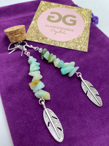 Amazonite and silver earrings with feather detail by JENNY15