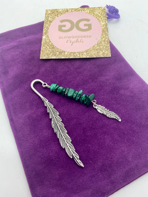 Malachite Tibetan silver feather bookmark by JENNY 01