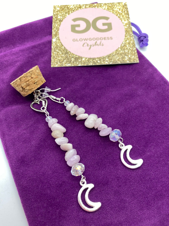Kunzite and crystal earrings with moon  detail by JENNY13