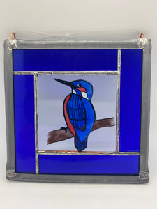 Kingfisher stained glass panel.                                       LD