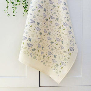 Printed cotton tea towel blue cow parsley