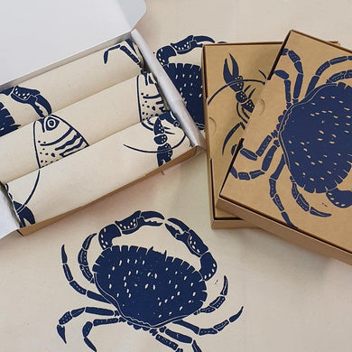 Trio of seaside tea towels (Blue)