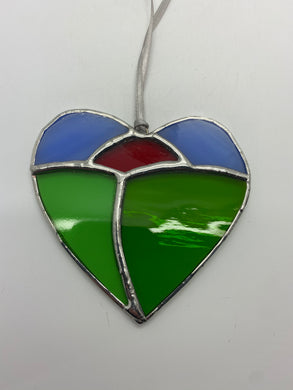 Sunset heart stained glass hanging (Glass)