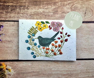 Plantable black bird greetings card blank inside (Erika)
