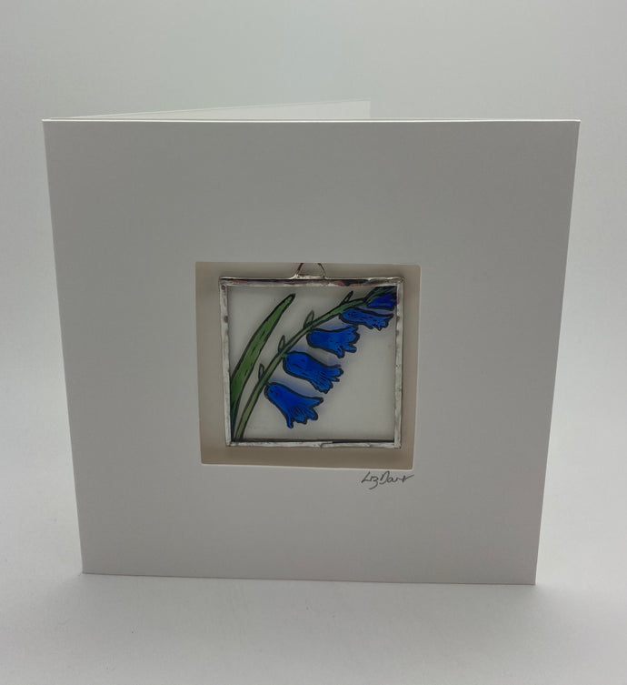 Bluebell stained glass greeting card. LD